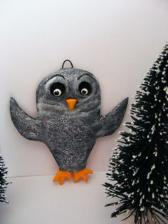 Glittered Grey Winter Folk Art Christmas Owl by seasonsart1031, $15.00