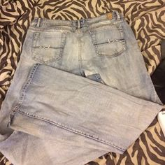 Jeans Maurice's brand size 15/16 long faded flare leg jeans. Have been loved but tons of life left no rips on the bottoms or at all. If you love flare leg you know how hard they are to find! Maurices Jeans Flare & Wide Leg