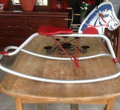 Vintage (50s-60s?) Rocking Horse Wooden Head Metal Body Aluminum Rocker