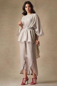 Buy Linen Embellished Pants by Twenty Nine at Aza Fashions Party Wear Indian Dresses, Designer Party Wear Dresses, Indian Gowns Dresses, Dress Indian Style, Indian Fashion Dresses, Indian Designer Outfits, Indian Fashion Modern, Stylish Dresses For Girls, Stylish Dress Designs