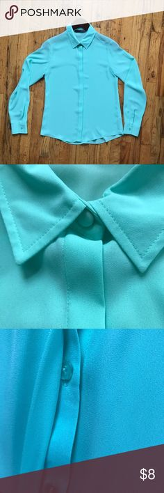 Mint Green Button Up Blouse Button up blouse in a pretty mint green.  USA size 4 / British label reads UK 8 Good condition Atmosphere Tops Button Down Shirts