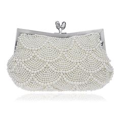 Luxury Womens Full Pearl Clutch Purse Cocktail Party Elegant Ladies Evening Bags #New #Clutch