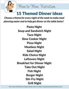 Themed dinner nights make meal planning a breeze! By designating a certain theme to each night of the week, you can keep structure to your family's meal plan! meal planning 15 Themed Dinner Ideas [My Favorite Way to Meal Plan Planning Menu, Family Meal Planning, Planning Budget, Family Meals, Monthly Meal Planning, Weekly Meal Plan Family, Weekly Dinner Plan, Meal Planning Recipes, Weekly Meal Plans