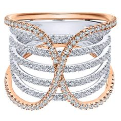 14k White/pink Gold Lusso Diamond Style Wide_band Ladies Ring With Diamond