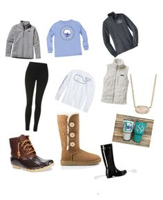 """Preppy Winter essentials"" by preppy-southerngirl ❤ liked on Polyvore featuring Topshop, UGG Australia, Patagonia, Vineyard Vines, Hunter, Sperry and Kendra Scott"