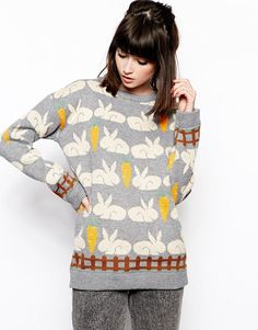 The WhitePepper | The WhitePepper Jumper in Rabbit Pattern at ASOS