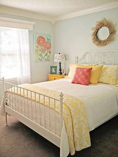 Guest Bedroom, : Vintage Bedroom Design With White Metal Leirvik Bed Frame And Pastel Interior Color Ideas Dream Bedroom, Home Decor Bedroom, Bedroom Yellow, Colourful Bedroom, Bright Bedroom Ideas, Yellow Bedding, Bedroom Girls, Simple Spare Room Ideas, Blue And Yellow Bedroom Ideas