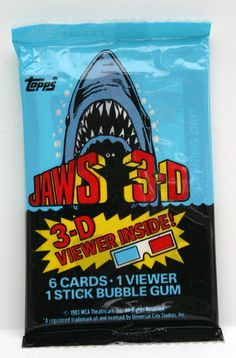 JAWS 3D Trading Cards wrapper (Topps 1983)