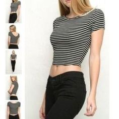 Brandy Melville striped stretchy shirt Black and white striped shirt meant to be worn cropped. Gently used Brandy Melville Tops Crop Tops