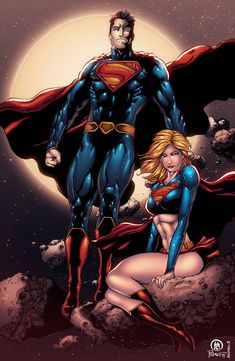 Superman and Supergirl artwork by Ace-Continuado inks by Prado Ink Works colors by Alonso Espinoza. Supergirl Superman, Superman Family, Superman Man Of Steel, Batman And Superman, Arte Dc Comics, Fun Comics, Marvel Comics, Cartoon Crazy, Hq Dc