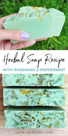 Learn to make herbal soap with rosemary and peppermint essential oils and dried herbs and flowers. Part of the Simple Soap Recipe series soap with essential oils How to make Herbal Soap with Rosemary and Peppermint Soap Making Recipes, Homemade Soap Recipes, Homemade Soap Bars, Diy Savon, Peppermint Soap, Essential Oils Soap, Cold Process Soap, Handmade Soaps, Diy Soaps
