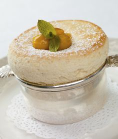 Warm golden plum soufflé
