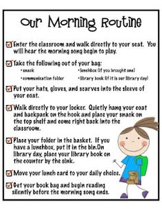 great ideas for morning routines in the classroom...includes a morning song, and silent reading time