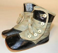 Victorian Antique Blue & Black Leather High Button Baby Boots Infant Shoes