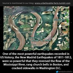 Mississippi River ran backward in Feb 1812 for a few hours because of a large earthquake at New Madrid caused dams and waterfalls, Reelfoot Lake. Us History, American History, Earthquake And Tsunami, Physical Geography, Kansas City Missouri, Unbelievable Facts, In Boston, Natural Disasters, Global Warming