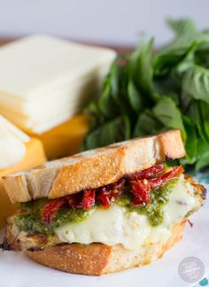 Cheesy Grilled Pesto Chicken and Sundried Tomato Sandwich - Table for Two