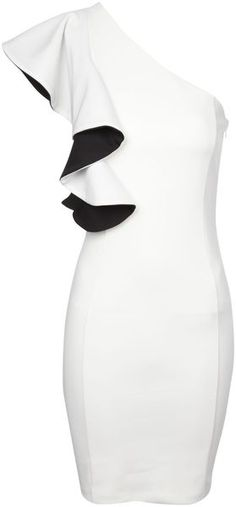 Jane Norman Beige One Shoulder Monochrome Ruffle Dress