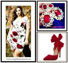 COWGIRL GLAM DRESS Plus Size Off the Shoulder Red Rose on  White Dress/Rhinestone Earrings/ Red Bow Heels  #dress #floral #plussize #rode #wedding #heels #bow #style #offtheshoulder #sexy #red #earrings #rhinestone #jewelry #wholesale #beautiful #boutique #fashion #style #boutique #onlineshopping