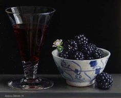 still life with blackberries and blackberry wine – Jessica Brown.