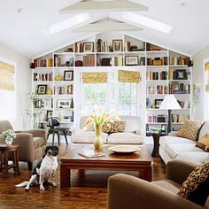Bookshelves with pitched ceiling.