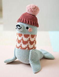 Anderson Seal - crochet pattern by Pica Pau (Yan Schenkel) Crochet Patterns Amigurumi, Knit Crochet, Crochet Kawaii, Stuffed Toys Patterns, Crochet Animals, Crochet Projects, Dinosaur Stuffed Animal, Creations, Couture