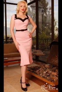 RETRO 50s STYLE PINUP GIRL CLOTHING DIXIEFRIED PARIS WIGGLE DRESS PINK BLACK XL