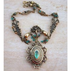 Personalized Brass Locket Necklace with Green stones Vintage Style... ($168) ❤ liked on Polyvore
