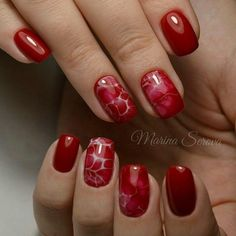 Beautiful nails 2016, Bright summer nails, Exquisite nails, Nails ideas 2016, Original nails, Red and white nails, Red nails ideas, ring finger nails