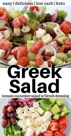 Best Greek Salad, Greek Salad Recipes, Healthy Salad Recipes, Healthy Snacks, Vegetarian Recipes, Healthy Eating, Cooking Recipes, Vegetarian Salad, Recipe For Greek Salad