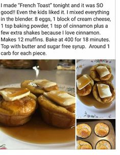 Low-Carb, Keto French Toast Muffins - Add a little stevia/erythritol blend to the batter. Use 4 eggs instead extra cinnamon French toast muffins- add stevia and vanilla 400 for 20 min French Toast muffins Maybe I'll try this but I'll sub the regular c Low Carb Desserts, Low Carb Recipes, Cooking Recipes, Low Carb Breakfast, Breakfast Recipes, Keto Breakfast Muffins, Low Carb Egg Muffins, Pancake Muffins, Breakfast Casserole