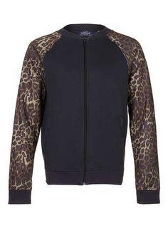 Washed Black Leopard Sleeve Bomber Jacket