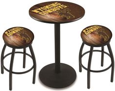 Wyoming Cowboys D2 Black Pub Table Set.  Available in two table widths. Visit SportsFansPlus.com for Details.