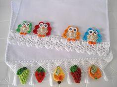 3 Panos Coruja Frutas e Flores modelo 01 no Elo7   msmusical (51A576) Crochet Necklace, Crochet Hats, 1, Owl Templates, White Plates, Pop Tabs, Shopping, Crochet Motif, Flowers