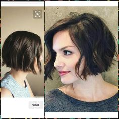 Short Wavy Textured Blunt Bob Short Hair Styles Short Wavy Hair Blunt Bob Hairstyles If My Hair Were Straighter I Ll Get This Haircut Short Hair With Blunt Bob Wavy Bob Hairstyles, Pretty Hairstyles, Hairstyle Ideas, Bob Haircuts, Short Wavy Hair, Short Hair Styles, Hair Day, New Hair, Haircut And Color