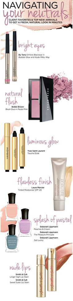 Freshen up your spring beauty look with these bright pastel makeup products. Some of our current favorites are a bright pink blush, neutral pastel nail polishes and natural pink lips.