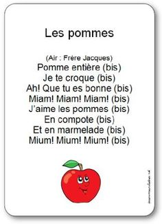 Words from the nursery rhyme Apples: Whole apple, I eat you, Ah! French Teacher, French Class, French Lessons, French Poems, French Quotes, Kindergarten Songs, Kindergarten Lesson Plans, French Teaching Resources, Teaching French