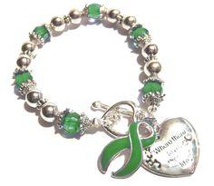 Mental Illness Awareness Silver Ribbon and Heart Charm Bracelet
