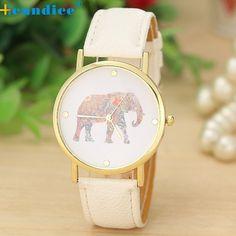 Favoloso donne orologi Elefante Modello di Stampa di Cuoio Tessuto Quarzo damski zegarek Orologio donna orologio da polso relogio feminino