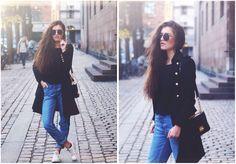 Mom jeans, long coat, & converse : Lookbook.nu