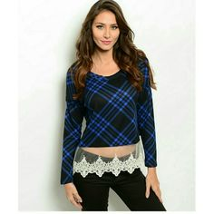 Cozy plaid knit long sleeve sweater top. These are BRAND NEW!This cozy plaid knit long sleeve sweater top features a sheer lace trim hem panel. The material is 96%polyester and 4%spandex. I have small medium and large available.  I will make you a seperate listing!:) Tops Blouses