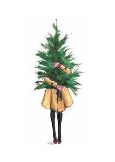Christmas, girl with christmas tree, art, Happy new year