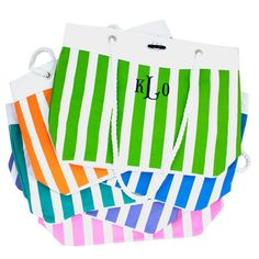 Preppy Monogrammed Nautical Stripe Totes