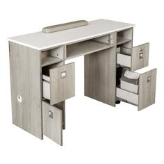 XO Nail Table - The manicure table station creates a delightful working environment for your staff and a relaxing ambiance. Home Beauty Salon, Home Nail Salon, Nail Salon Decor, Nail Salon Furniture, Spa Furniture, Manicure Table For Sale, Nail Station, Organic Nails, Nail Room