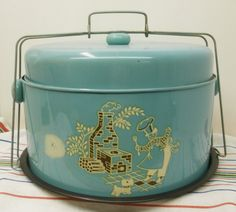 Vintage Metal Cake Carrier in Turquoise Blue ~ I would love one of these!