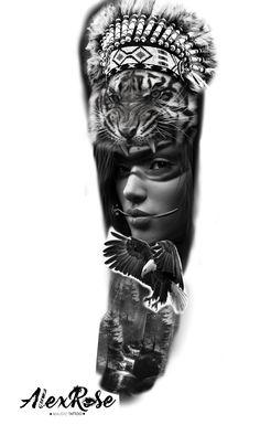 Cat Tattoo, Tattoo Drawings, Girl Face Drawing, Tiger Art, Tattoo Project, Best Sleeve Tattoos, Arte Horror, Ragnar, Custom Tattoo