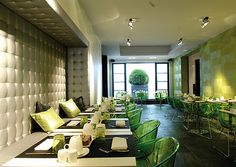 Transparent green chairs! Now that's an offbeat idea you don't see implemented too often! Bet those would look great in the dining room of someone's home as well!