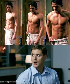 That is my face every time I see Sam shirtless. Supernatural Series, Supernatural Pictures, Supernatural Wallpaper, Supernatural Funny, Supernatural Fanfiction, Dean Winchester Hot, Winchester Supernatural, Winchester Brothers, Jared Padalecki Shirtless