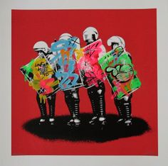 MARTIN WHATSON - LOVE COPS REMIX RED - MINISTRY OF WALLS http://www.widewalls.ch/artwork/martin-whatson/love-cops-remix-red/ #painting