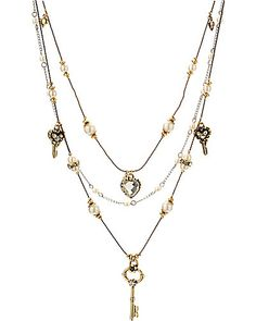 ICONIC PEARL KEY ILLUSION NECKLACE MULTI accessories jewelry necklaces fashion