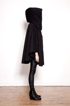 Black Hooded Wool Cloak by Ovate on Etsy, $210.00 Just what I need for a rainy day :)